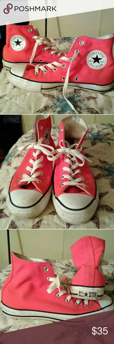 Pink converse Pink converse hi top. Much loved but have to downsize shoe collection!!  Scuff on right front shoe but not noticeable . Size 8 Converse Shoes Athletic Shoes