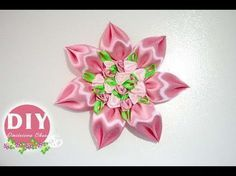 DIY/Kanzashi Brooch tutoriel/Ribbon flower/Brooch/MK/канзаши: bricoart.kam - YouTube