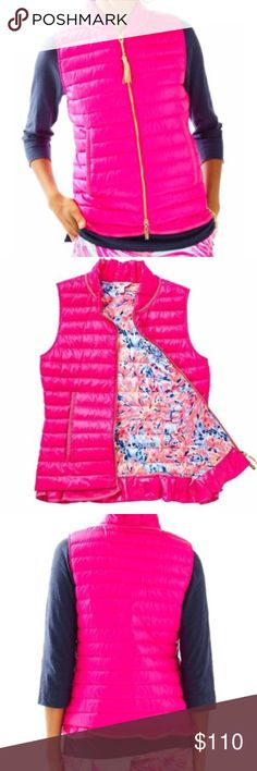 NWT Lilly Pulitzer Cora Vest L This is a beautiful Magenta NWT Lilly Pulitzer Cora Vest, size Large. Down-Filled Vest With Ruffle Collar With Gold Tassel Zipper Pull. Nano Twill (100% Polyester). Machine Wash Cold, Delicate Cycle. Remove Tassel Before Wash. Imported. Lilly Pulitzer Jackets & Coats Vests