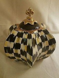 """9.5"""" whimsical check courtly jar planter candleholder supercrazychick check"""