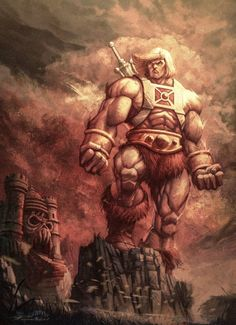 """Check out this awesome new artwork of He-Man, """"The Guardian of Grayskull"""", by Reyad Yousri. I was trying to create a new body form to give He-Man, to give him an even more powerful look by exceeding [. Science Fiction, Old School Cartoons, 90s Cartoons, Morning Cartoon, Universe Art, Cartoon Posters, Cult, She Ra Princess Of Power, Comic Art"""