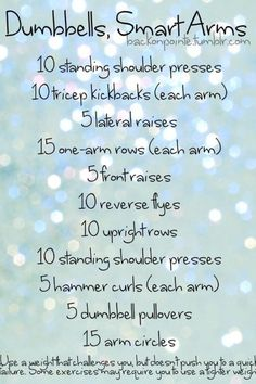 Basic arm exercises. Need to play with reps, but good outline.