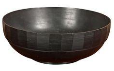 A large Keith Murray black basalt Wedgwood bowl.  1940's.  4 H x 9.5 Diam.