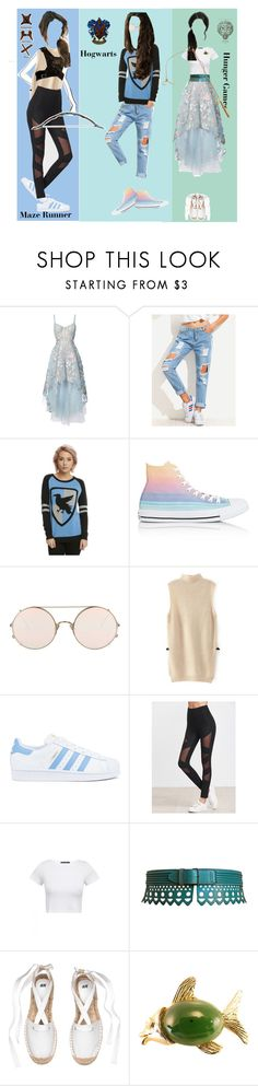 """""""OC different AUs"""" by ximihix ❤ liked on Polyvore featuring Notte by Marchesa, Warner Bros., Converse, Sunday Somewhere, adidas, Bow & Arrow and Alaïa"""