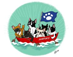 French Bulldogs at Sea, by Lili Chin's Illustration