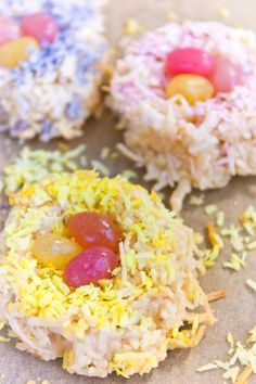For Easter ... Jelly Bean Macaroon Nests - Gluten-Free Dairy-Free Egg-Free -