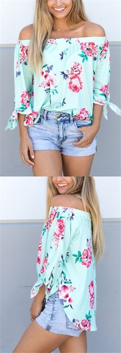 Green Off-The-Shoulder Random Floral Print Top - so pretty!