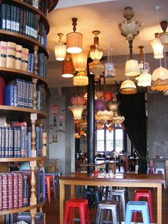 bar in auckland with upside-down lamps. genius.