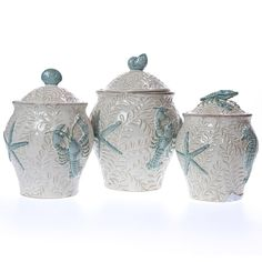 Our Stoneware Canister Set is part of our Coastal Collection, inspired by crashing waves, salty air and easy-breezy seaside living. Coastal Bedrooms, Coastal Living Rooms, Coastal Cottage, Coastal Homes, Coastal Style, Coastal Decor, Coastal Interior, Coastal Farmhouse, Interior Design