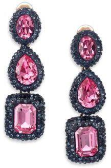 Oscar De La A Bold Jeweled Linear Drop Earrings Oscardelaa Navy Black Pink Fuchsia Jewels Fashion Frenzy Pinterest