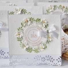 zaproszenie na komunię scrapbooking - Szukaj w Google First Communion Cards, Holy Communion Invitations, First Holy Communion, Confirmation Cards, Baptism Cards, Christian Cards, Fabric Cards, Handmade Invitations, Shabby Chic Cards