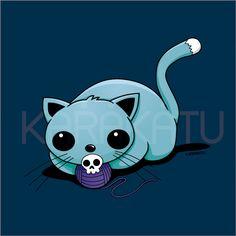 Gatito jugando con lana - Camisetas con este y otros diseños en Karakatu.com