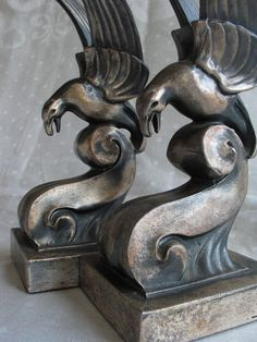 Antique Art Deco Bird Bookends, c 1930 - hollywood regency