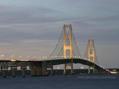 Mackinaw Bridge at dusk I crossed it thru An electrical storm!!!