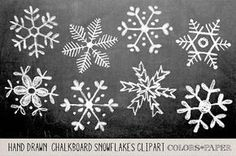 Check out Hand Drawn Chalky Snowflake Clipart by Colors on Paper on Creative… Winter Christmas, Christmas Crafts, Christmas Decorations, Xmas, Christmas Chalkboard Art, Italian Christmas, Christmas Clipart, Christmas Tree, Christmas Ornaments