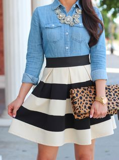 Denim button-up, chunky statement necklace, striped pleated a-line skirt, leopard clutch