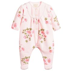 c91d08e808e Emile et Rose pink cotton rose babygrow available  Childrensalon Beautiful  Little Girls