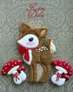 deer and mushrooms cookies