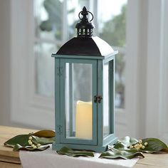Turquoise Wood and Metal LED Lantern | Kirklands