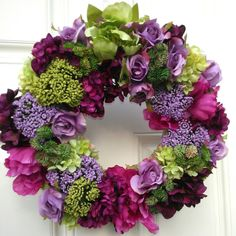 Designer Décor . Spring Wreath . Summer Wreath . Easter Wreath . Mother's Day . Wedding . Lavender . Lime . Burgundy . Medium Large Wreath
