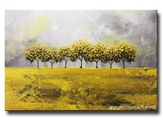 ORIGINAL Art Abstract Painting Yellow Grey Trees LARGE Art Textured Wall Art Home Decor Coastal Gold White Horizon 24x36- Christine Krainock