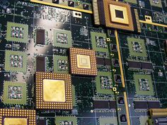 Silicon Graphics® server board detail. The board is smooth to the touch which is unusual in older computer boards. Upcycled processors are from Intel® —by cpuartworks