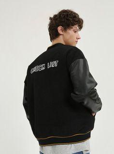 Tyakasha Planner Unisex Faux Leather Woolen Baseball Jacket