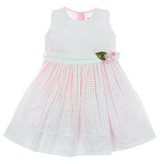 Monnalisa Baby Girls Pink Dress with Square Netting and Flower Print - Monnalisa from Chocolate Clothing UK