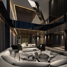 Morpheus hotel at City of Dreams was designed by the late Dame Zaha Hadid. A duplex villa at the Morpheus hotel, City of Dreams. The hotel offers around 770 rooms, including suites and villas. Home Room Design, Dream Home Design, Modern House Design, Home Interior Design, Lobby Interior, Mansion Interior, Modern Houses, Dream House Interior, Luxury Homes Dream Houses