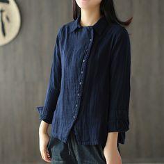 Art retro cotton hemp oblique lapel solid color shirt   #cotton #cottonshirt #blueshirt #organic #shirt