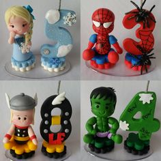 mini-topinhos-com-vela-homem-aranha. Number Cake Toppers, Fondant Cake Toppers, Cupcake Cakes, Fondant Letters, Fondant Numbers, Polymer Clay Projects, Clay Crafts, Diy And Crafts, Superhero Cake
