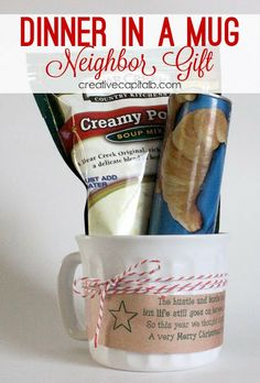 Simple, inexpensive neighbor gift idea. Printable tags for the mug here!