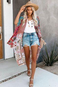 Multicolor Bohemian Floral Print Kimono Pyjamas, Long Kimono Outfit, Tops Boho, Bohemian Kimono, Summer Kimono, Tie Dye Long Sleeve, Lingerie, Classy Outfits, Pattern Fashion