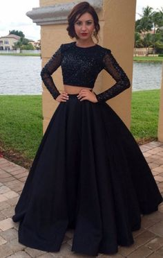 Black Evening Dresses, Two Piece Prom Dresses, Long Sleeves Two Pieces Plus Size Prom Dresses For Teens,Modest Formal Evening Dresses Prom Dresses Two Piece, Prom Dresses For Teens, Prom Dresses 2018, Black Prom Dresses, Prom Party Dresses, Sexy Dresses, Dress Prom, Dress Black, Black Quinceanera Dresses