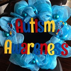 I made this to hang on our front door for autism awareness month for my son and my daughter who both have non-verbal autism.