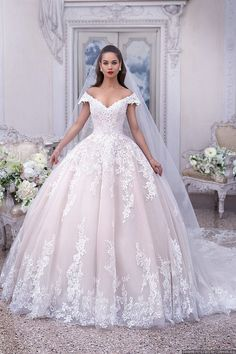 Off the shoulder ball gown tulle wedding dress with appliqués, princess wedding dress € - SchickeAbendKleider.de - Off the shoulder ball gown tulle wedding dress with applique, princess wedding dress - Pink Wedding Dresses, Princess Wedding Dresses, Tulle Wedding, Bridal Dresses, Bridesmaid Dresses, Prom Dresses, Light Pink Wedding Dress, Mermaid Wedding, Party Wedding