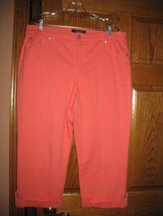 Nine West Womens Jeans Cropped Coral Pink Size 16W Capris Plus Size EUC #NineWest #CapriCropped