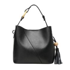 Genuine Calfskin Leather Cross-Body Bucket Handbag With Solid Tassel