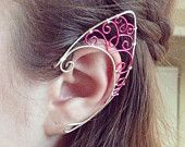 Pair of pink and silver elf ear cuffs
