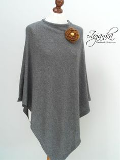 women PONCHO wrap ,poncho cape, AUTUMN fashion, gift ideas, autumn fashion accessories, Light grey ponch with a brooch by Zojanka on Etsy https://www.etsy.com/listing/459916898/women-poncho-wrap-poncho-cape-autumn