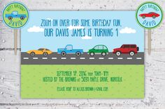 Zoom On Over Cars & Trucks Birthday Invitation And Cupcake Rounds   Etsy   Create&Capture
