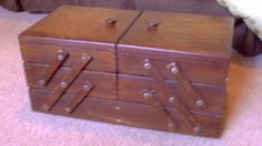 Vintage Wooden Accordion Style Sewing Box