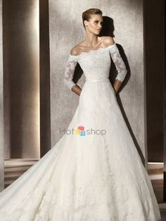 Timeless Three Quarter Sleeves LaceWedding Dress with Off-the-shoulder Neckline Full Length Skirt