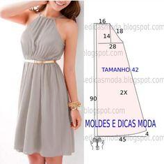 Fácil e de belo efeito o vestido com elástico na cintura encontra-se no tamanho 42 para Portugal e no tamanho 44 para o Brasil. A ilustração do vestido...