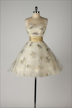 1950's Metallic Rose Print and Tulle Dress