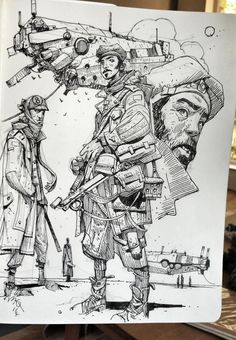 Enjoy an original collection of Sketches by Ian McQue. Ian is a concept artist/illustrator. Illustration Sketches, Drawing Sketches, Art Drawings, Sketching, Character Design References, Character Art, Arte Sketchbook, Sketchbook Inspiration, Norman Rockwell