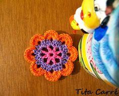 Motivo Floral Cow em crochet