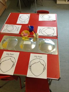 """For our theme of """"All About Me"""" the Woodlands class looking in a mirror and tried to draw their own faces. We also cut up dome parts of the body (nose, mouth, eyes) for the children to glue #eyfs #themes #activity"""