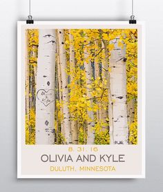 "Aspen Wall Art Personalized Unique Wedding Gift - Rustic Wedding - Custom Couples Gift - Anniversary Gift Paper. Personalize this beautiful Aspen tree print with your names etched into the bark of the tree, plus date and location! *NOTE this is a print and will require a frame to place on an easel or frame (frame NOT included). Ships rolled in a crush resistant tube. All sizes are standard frame sizes (8""x10"" = $18) (11""x14"" = $24) (16""x20"" = $32) (18""x24"" = $36) (22x28"" = $40) (24""x30"" =..."