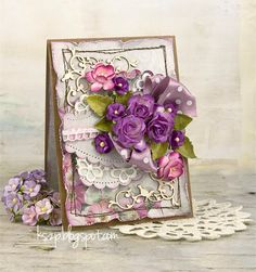 Klaudia/Kszp, Card with flowers in purple flowers and dotted ribbon bow